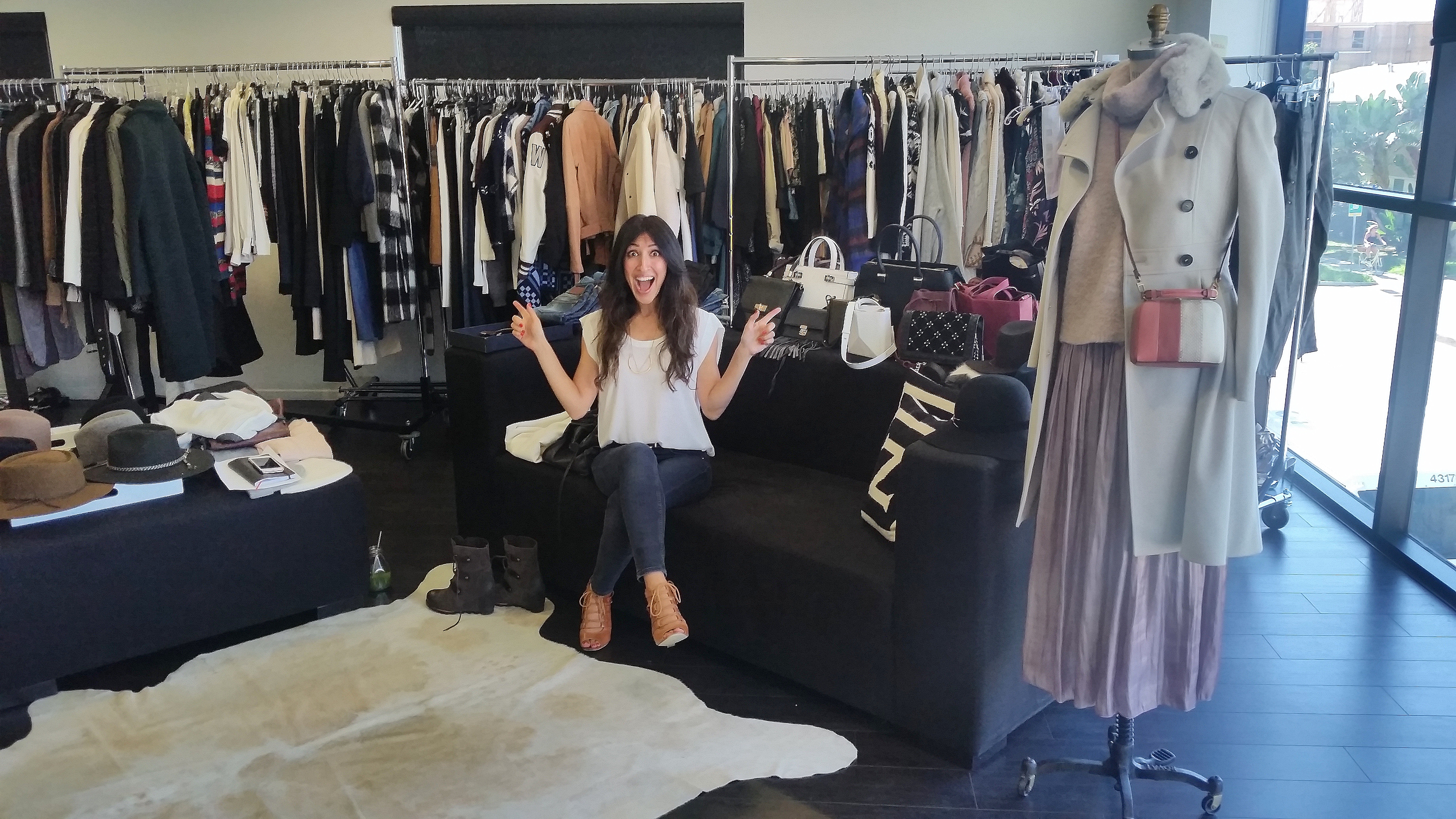 Me geeking out over the endless racks of GORGEOUS clothes!