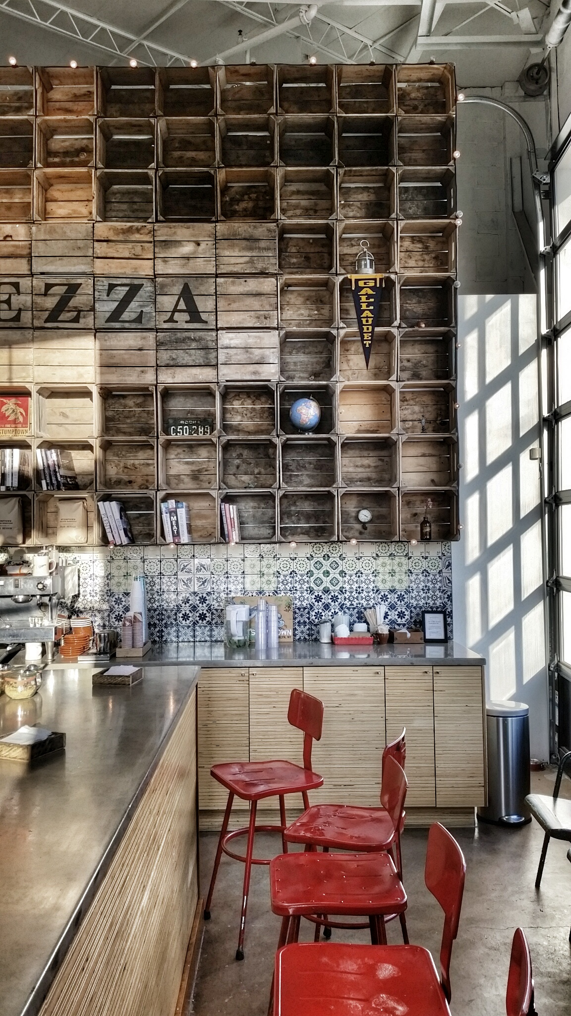 The Instagram-worthy interior of Dolcezza Factory - stop by for coffee or gelato and bask in the warm, golden light...