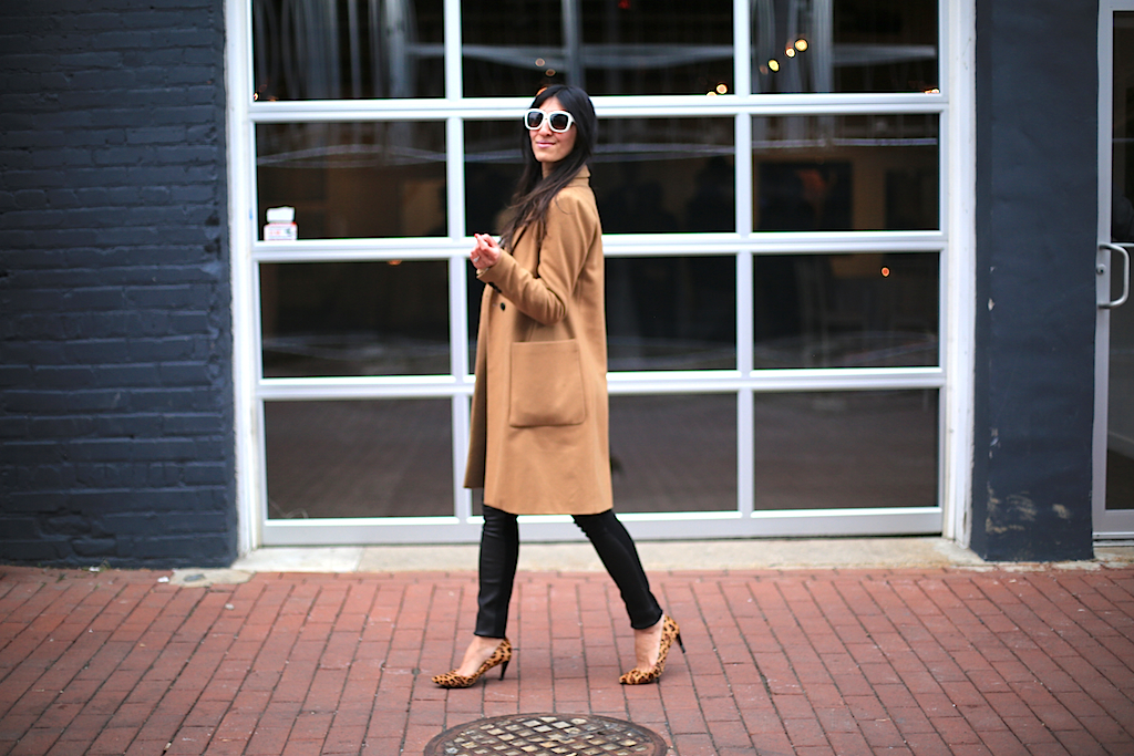 A neutral colored coat (like this camel it color of the season!) helps play up the depth of textures in this pant and keeps you warm on those cool spring evenings!