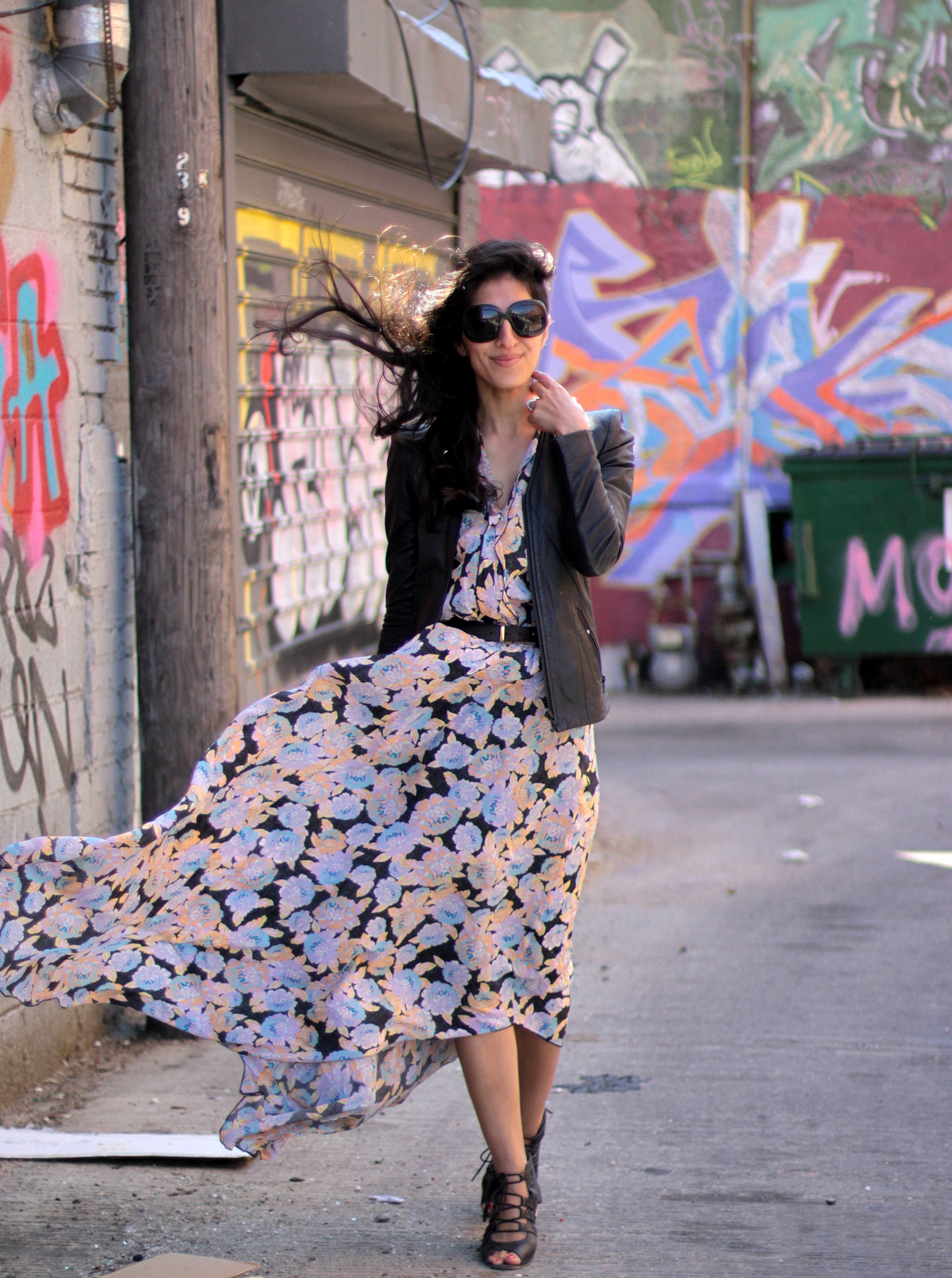 Without my trusty leather blazer jacket from Nordstrom, I would've been frozen in my lovely Ella Moss kimono-sleeve silk floral maxi dress! But the dark leather tempers the soft and sweet pastel shades, making it the perfect way to transition paler color palettes and floral prints into spring!