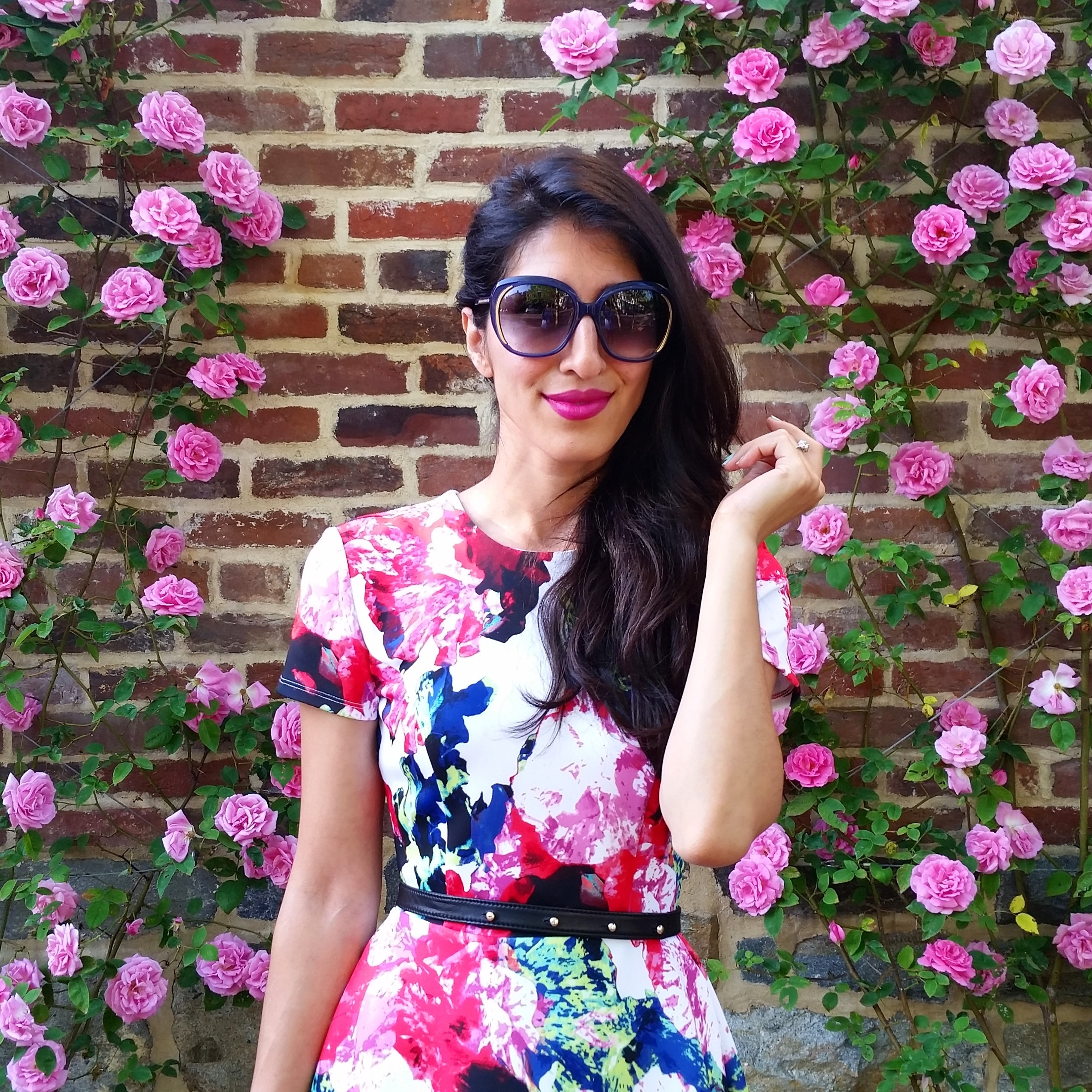 On weekends, we wear BRIGHT and BOLD floral prints with painterly effects! Milly makes some of my favorite printed dresses, and this one is no exception!