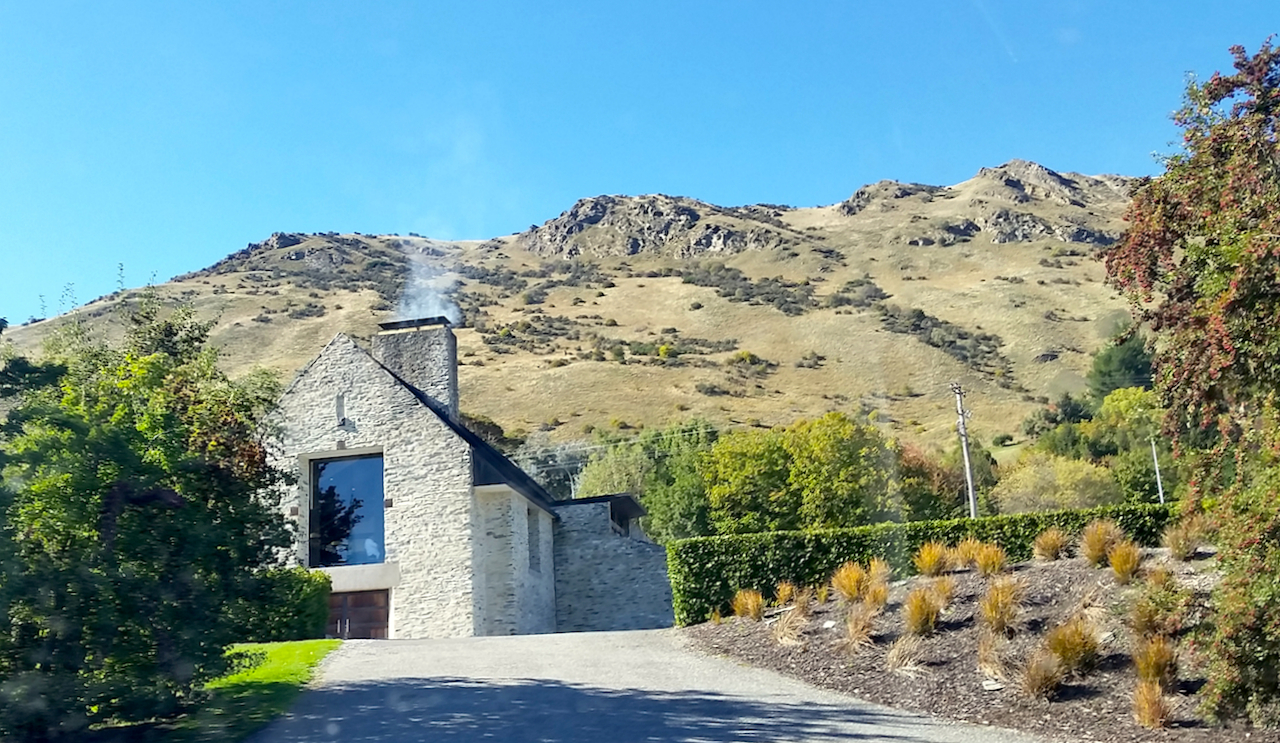 The beautiful Amisfield WInery and Restaurant, perched upon a hilltop overlooking the idyllic Lake Hayes.