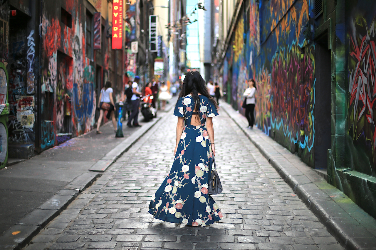 Cinched waist + open back reveals the more flattering form in my figure while the full flowy skirt effectively hides my winter thighs :) |  Hosier Lane - Melbourne, Australia