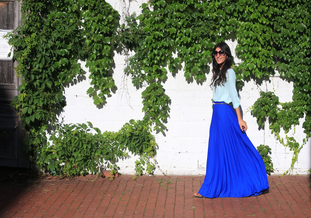 blue pleated maxi ivy wall