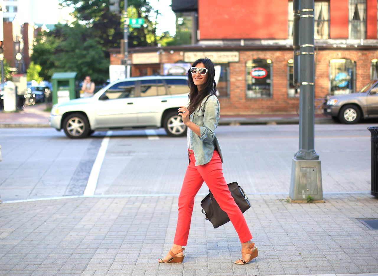 red pants walking outfit