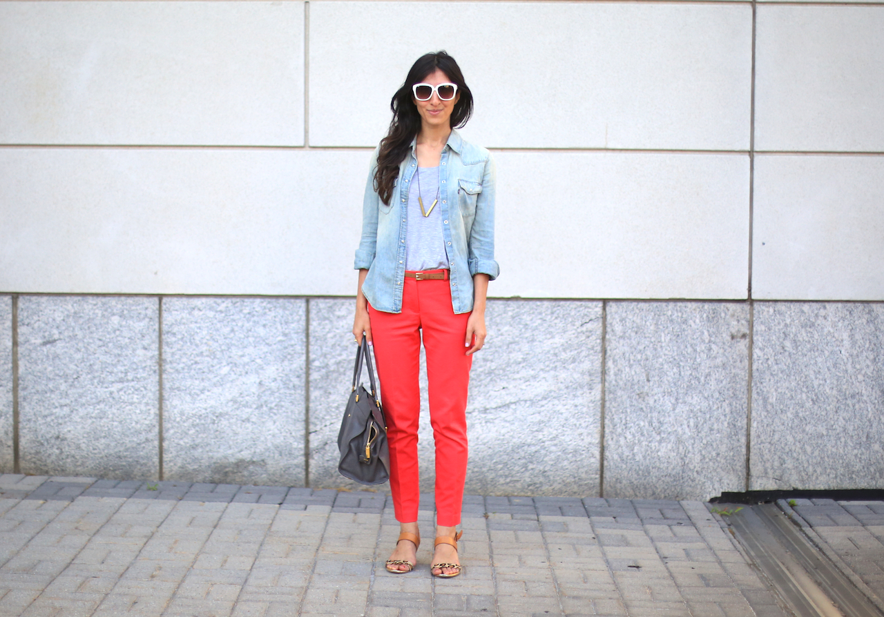 red zara pants chambray shirt white wall