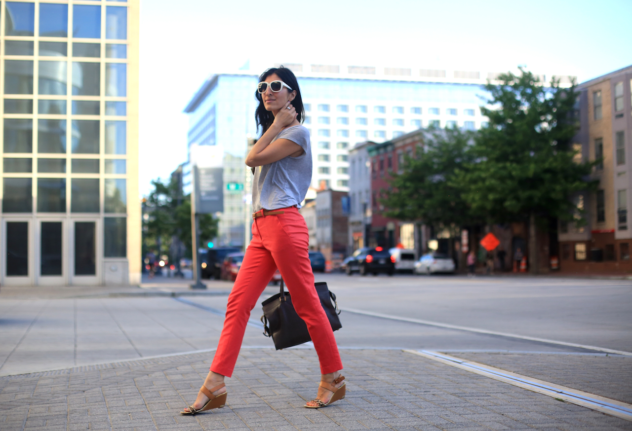 red zara pants grey tee