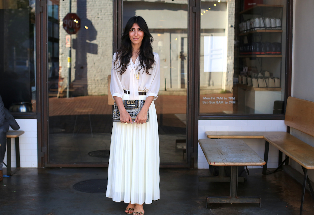 white pleated maxi skirt and blouse