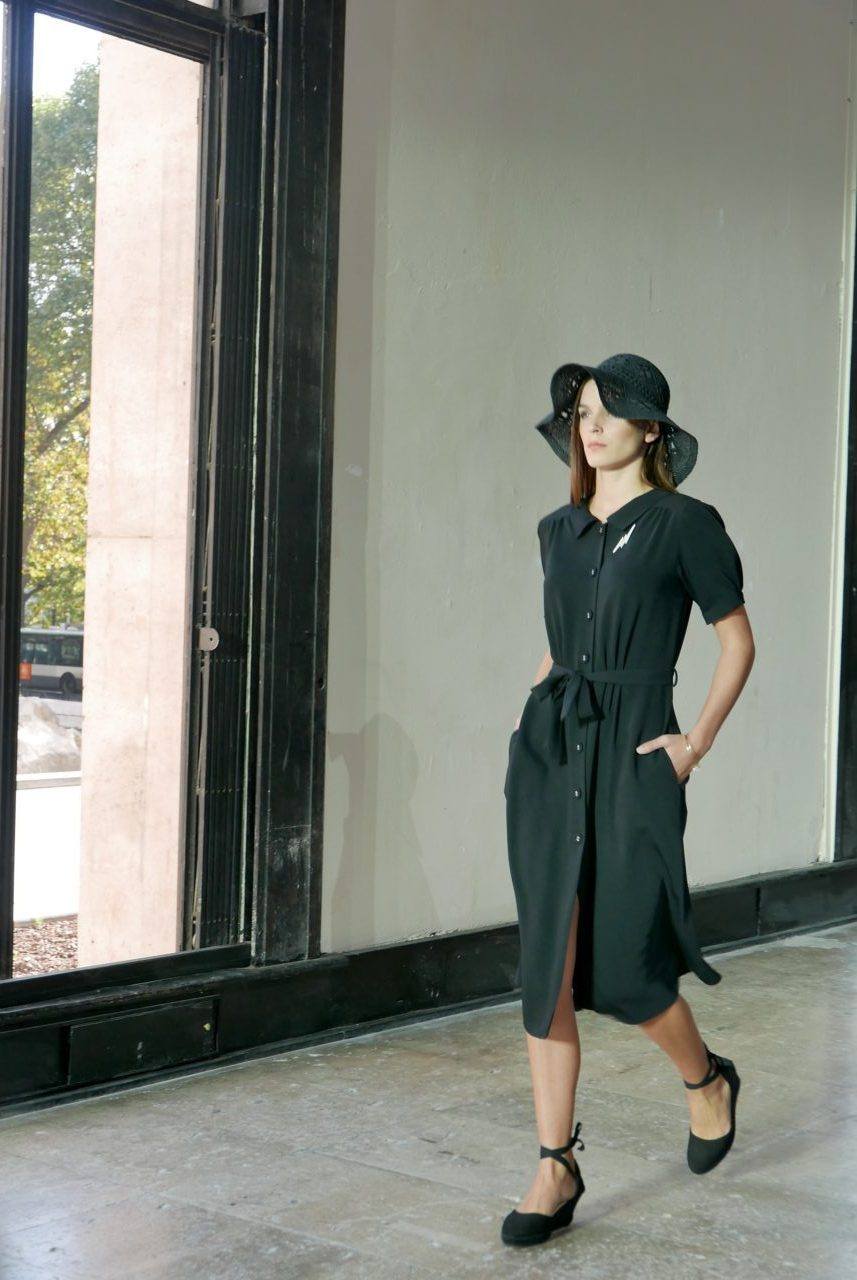 agnes-b-black-midi-dress-hat
